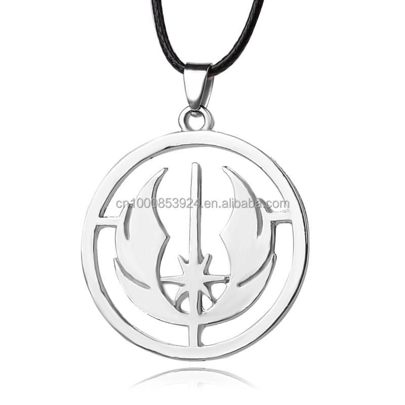 Star-wars Jedi Order Logo Pendant Necklace Rope Chain High Quality Women And Men Round Pendant Necklace