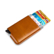 Customized gift RFID pop up card case made in leather and suede