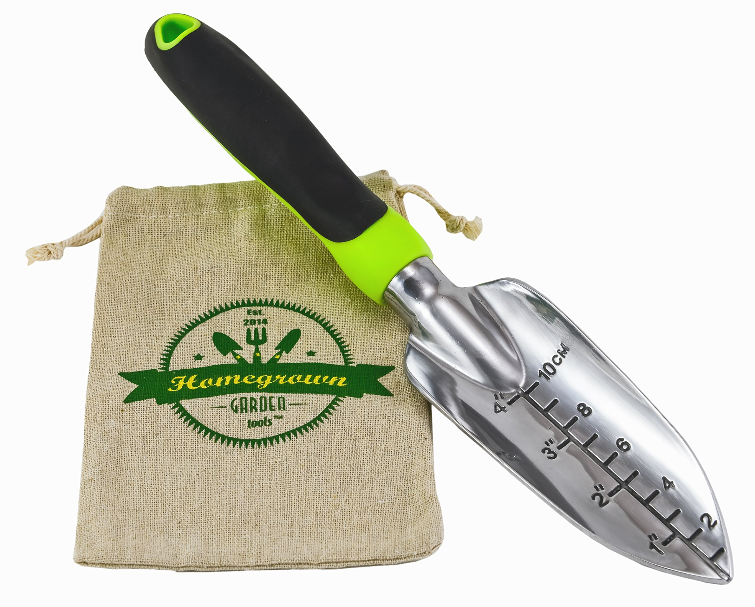 Modern Times Living Transplanter Trowel with Ergonomic Handle from Homegrown Garden Tools; Heavy Duty Polished Aluminium Blade; Includes Burlap Tote Sack - Makes Great Gift