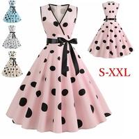Women Retro Rockabilly Dress Fashion Summer V-neck Sleeveless Polka Dot Dress 1950s Vintage Swing Dress