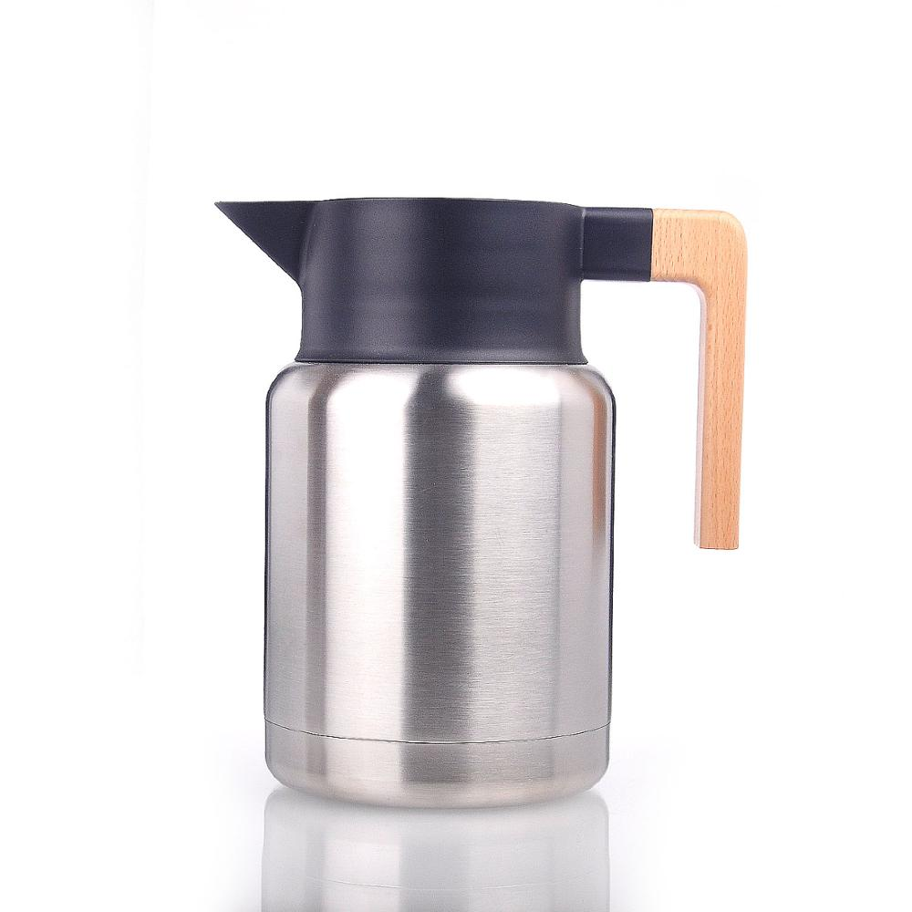 1.5L double wall stainless steel vacuum coffee pot with natural wooden handle