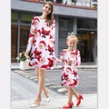 Christmas family matching clothes long sleeve Santa print Mother Daughter Dresses Family look Clothing mom and