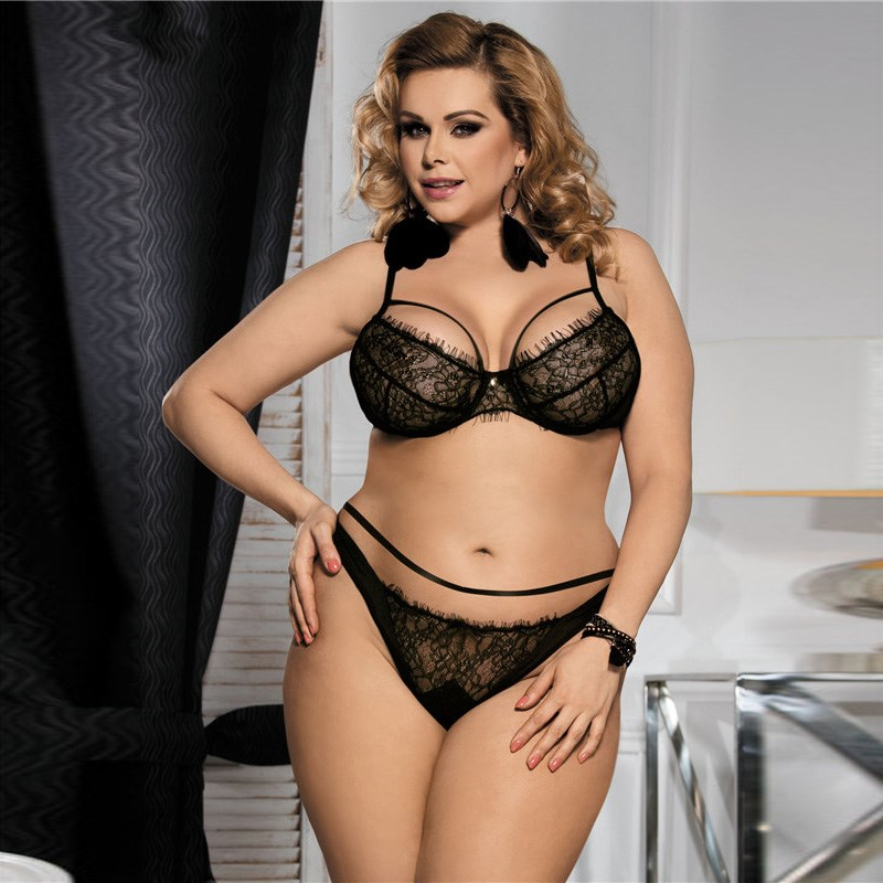 Plus Size Ladies Lace Bra Set Hot Sexy Transparent Nightwear for Honeymoon, Black sexy transparent nightwear