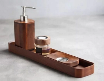Black Walnut Wood Bathroom Accessories Tooth Brush Holder Cup Soap Tray