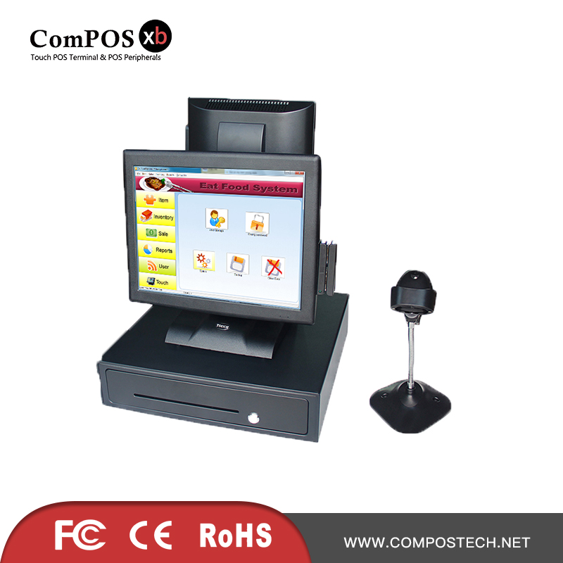 Double touch screen 15 Inch POS terminal with cash drawer and barcode scanner