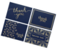 100 Thank You Cards Bulk Notes Navy Blue & Gold Blank Note with Envelopes for Business