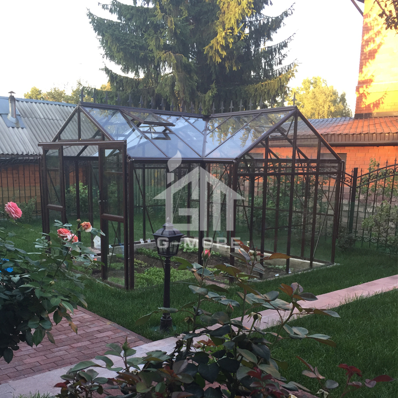 G-MORE Heavy Snow Resistance Euro / USA Standard Orangery Glass Greenhouse / 12.5'x12' Sunrooms Glasshouse Home Furniture