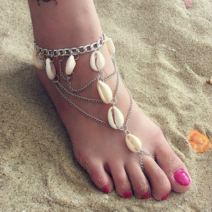 New Design Multilayer Shell Toe Ring Anklet For Women Beach Jewelry