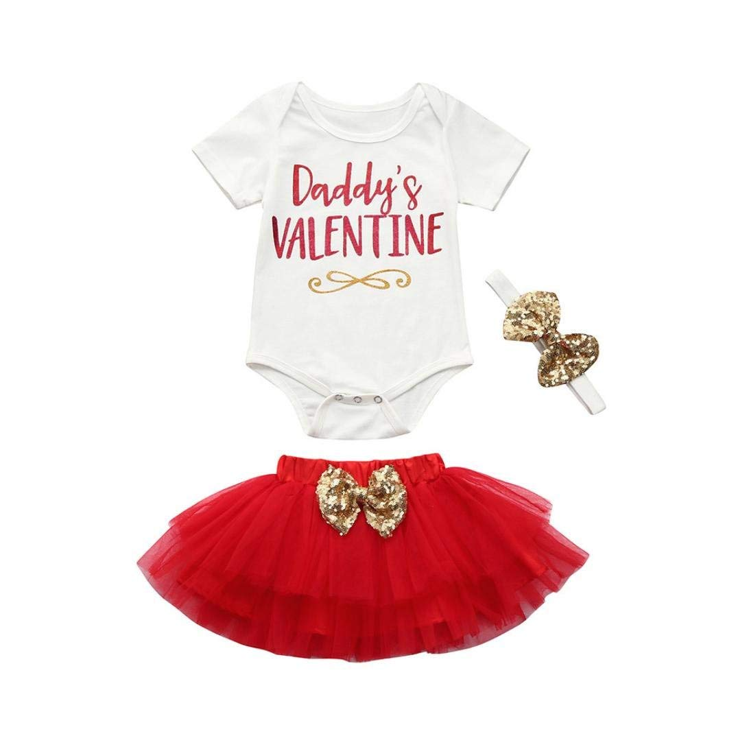 b3a06ed3a Get Quotations · CMrtew Daddy's Valentine Newborn Infant Baby Girl Letter  Romper Tops+Skirt Valentine's Day Outfits Set