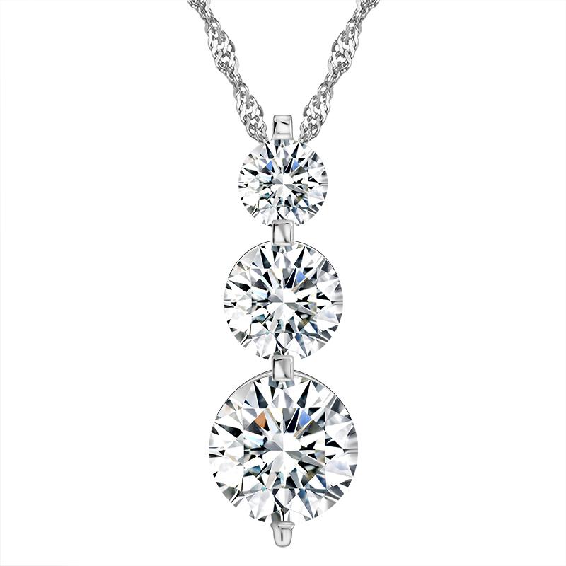 RINNTIN ON99 Luxury Women Accessories 3 Pieces Clear CZ Diamond Necklaces Wedding Jewelry