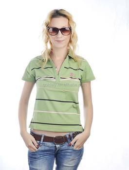 Hot sale women striped polo t shirt casual fashion polo shirts cheap price  white blue striped 0fb9ce5e56