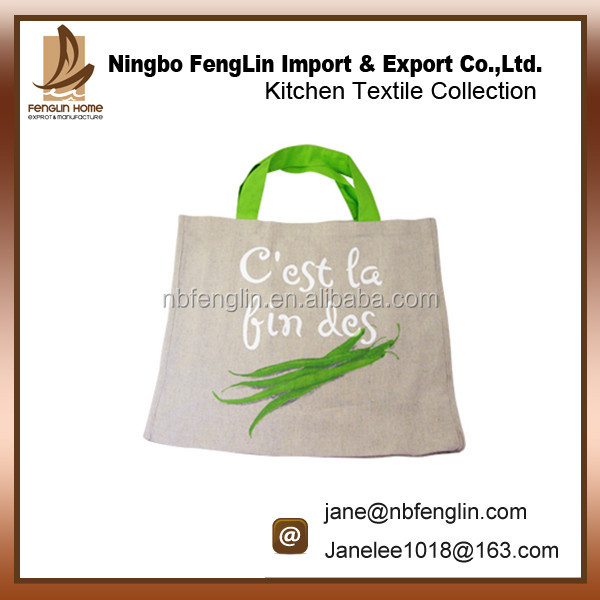Green Bean Printed Cotton Linen Women Shopping Tote Bag