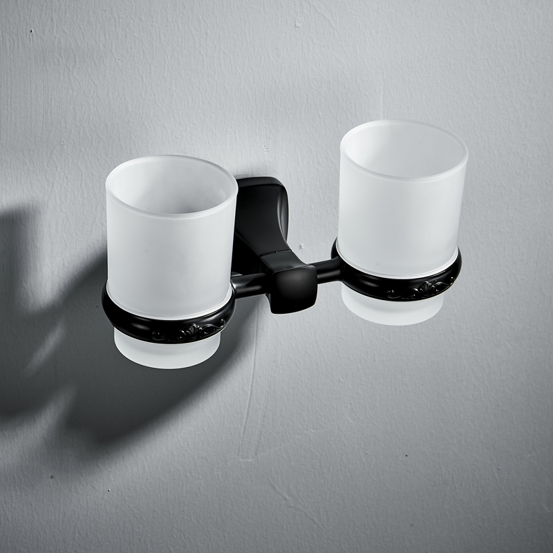 Wall Mounted Black Double Tumbler Holder Bathroom Glass Holder Twin Tumbler Holder