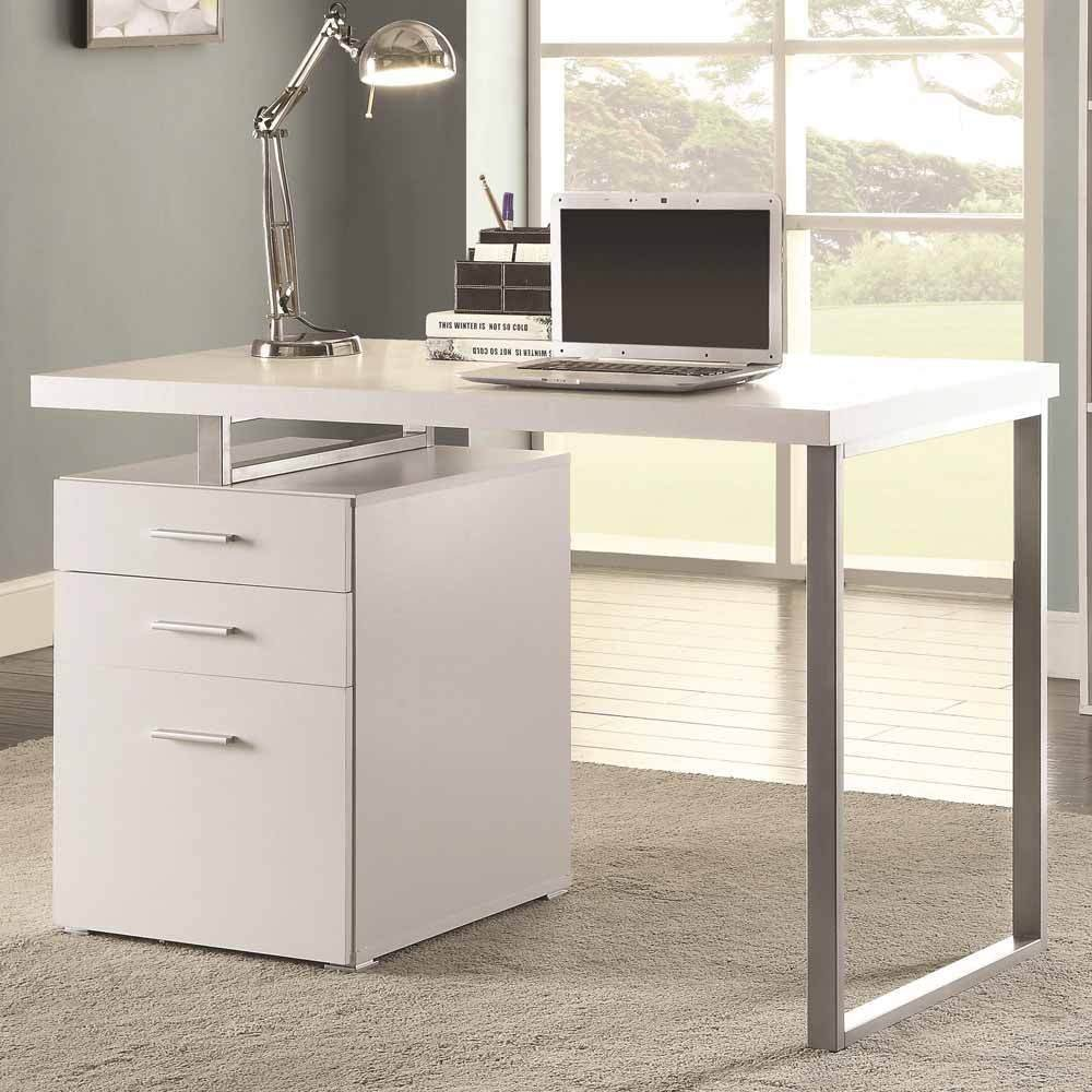 1PerfectChoice Contemporary Home Office Computer Writing Desk File Cabinet Reversible in White