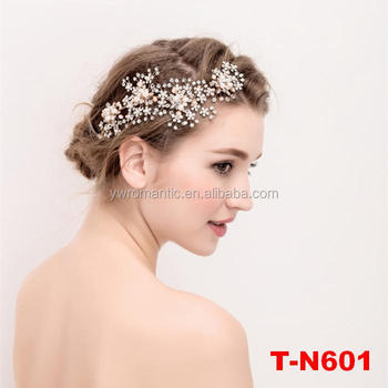 4e8c5e6378e55 Hot Selling Fashion Bridal Wedding Hair Accessories Gold Plated Flower  Crystal Rhinestones Pearls Women Side Hair