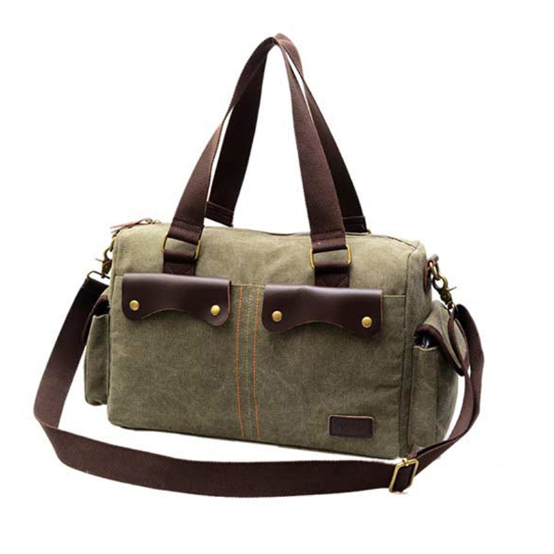 d79c29c0b6b Get Quotations · GAINA Brand Vintage Canvas Genuine Leather Hand Bag  Handbags Men Women s Cheap Messenger Bags Military Laptop