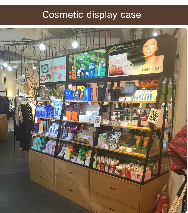 customized wooden retail cosmetic display furniture showcase