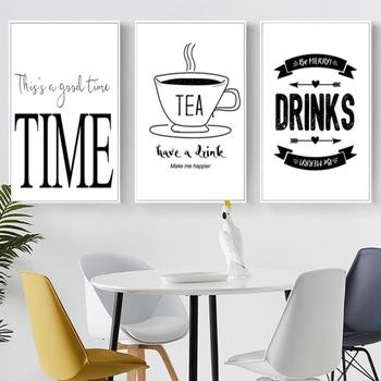 black and white modern coffee canvas paintings poster and prints
