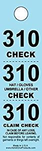 Three-part Coat Room Checks -- Coat Check Tags -- Claim Check -- Coat Tickets -- 3 Part Blue -- 500 Count