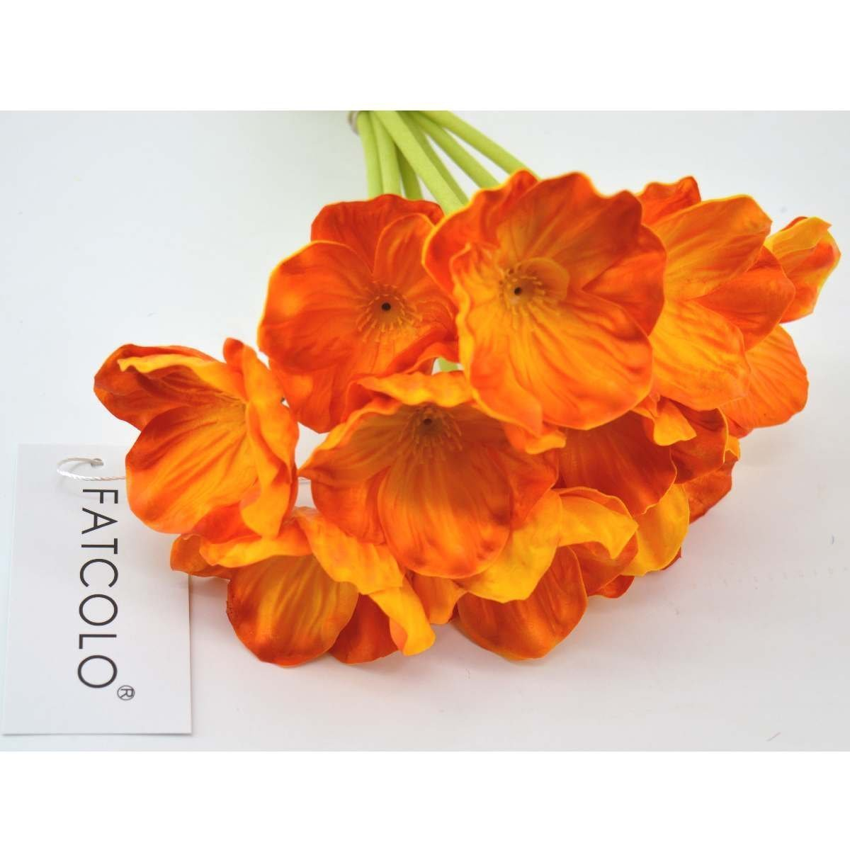 Buy 2 Bright Orange Artificial Poppy Flowers In Bird Cage Table Top