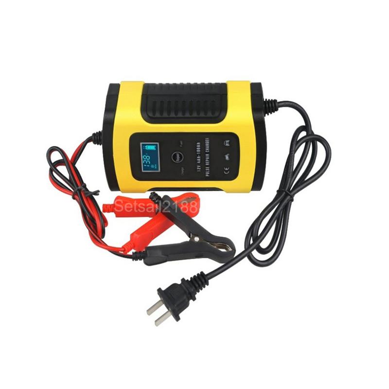 Carregador de bateria de reparação de pulso de carro 12 v 5a 6a carregador de bateria acidificada a chumbo compensação de controle de temperatura 12 v
