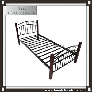 Top-selling cast iron wooden legs single bed