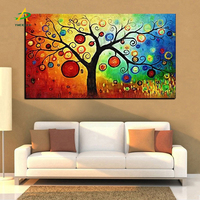 Wholesale Digital modern abstract canvas wall art Apple money tree oil painting for home decoration