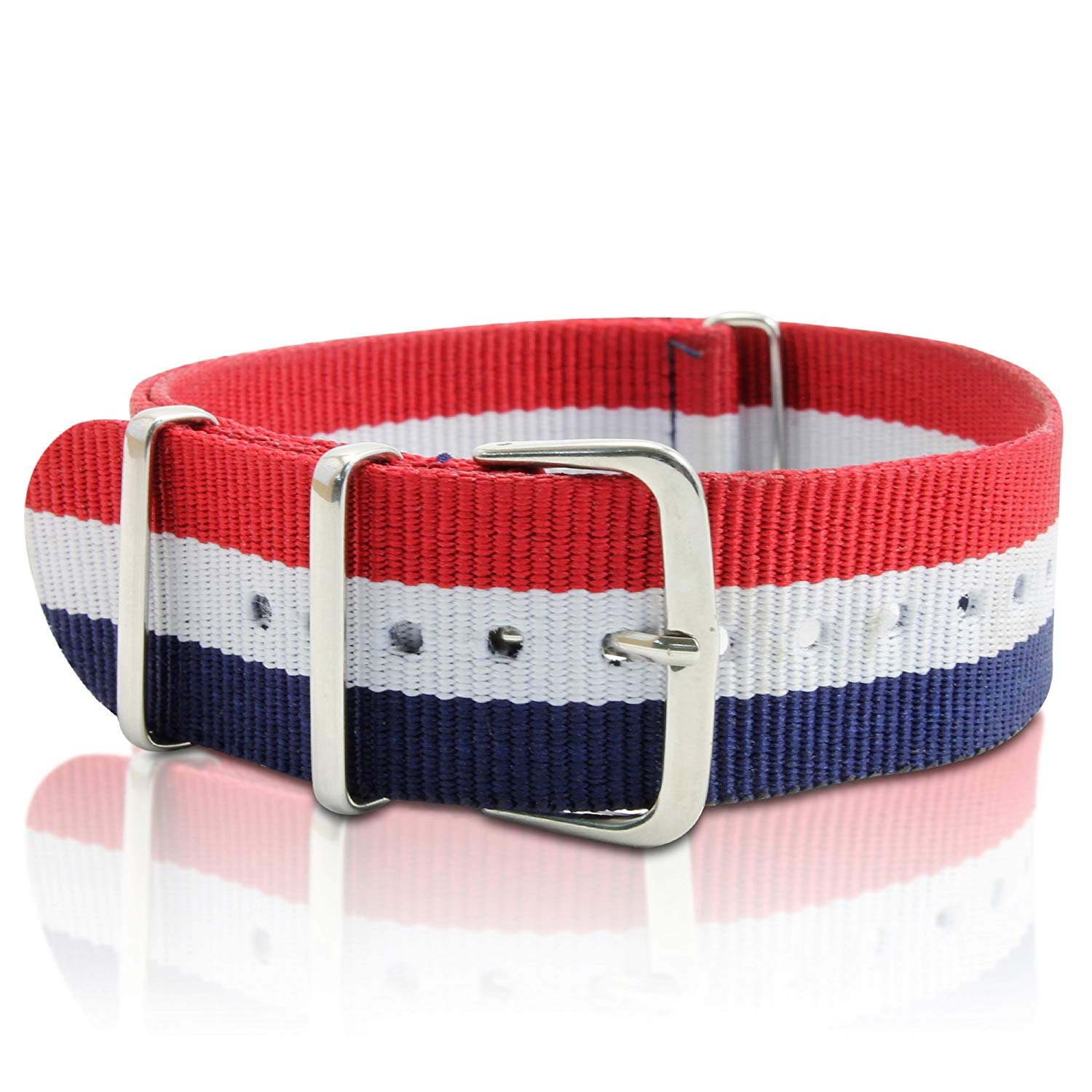 Whatswatch 22mm Nylon Striped Blue /White/Red Replacement Watch Strap Band