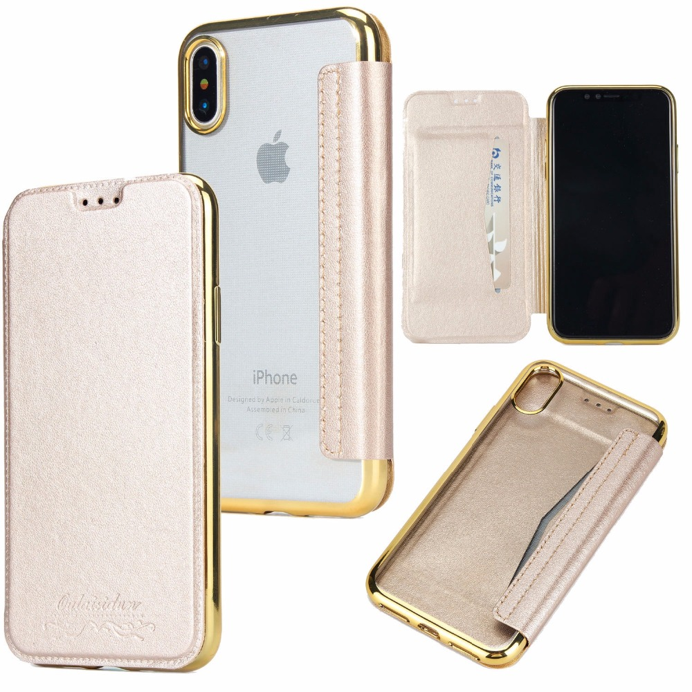 Clear TPU Back + PU Leather Cover Case for iPhone 8 Wallet Leather Case with Card Slot Holder for iPhone 7 7 Plus