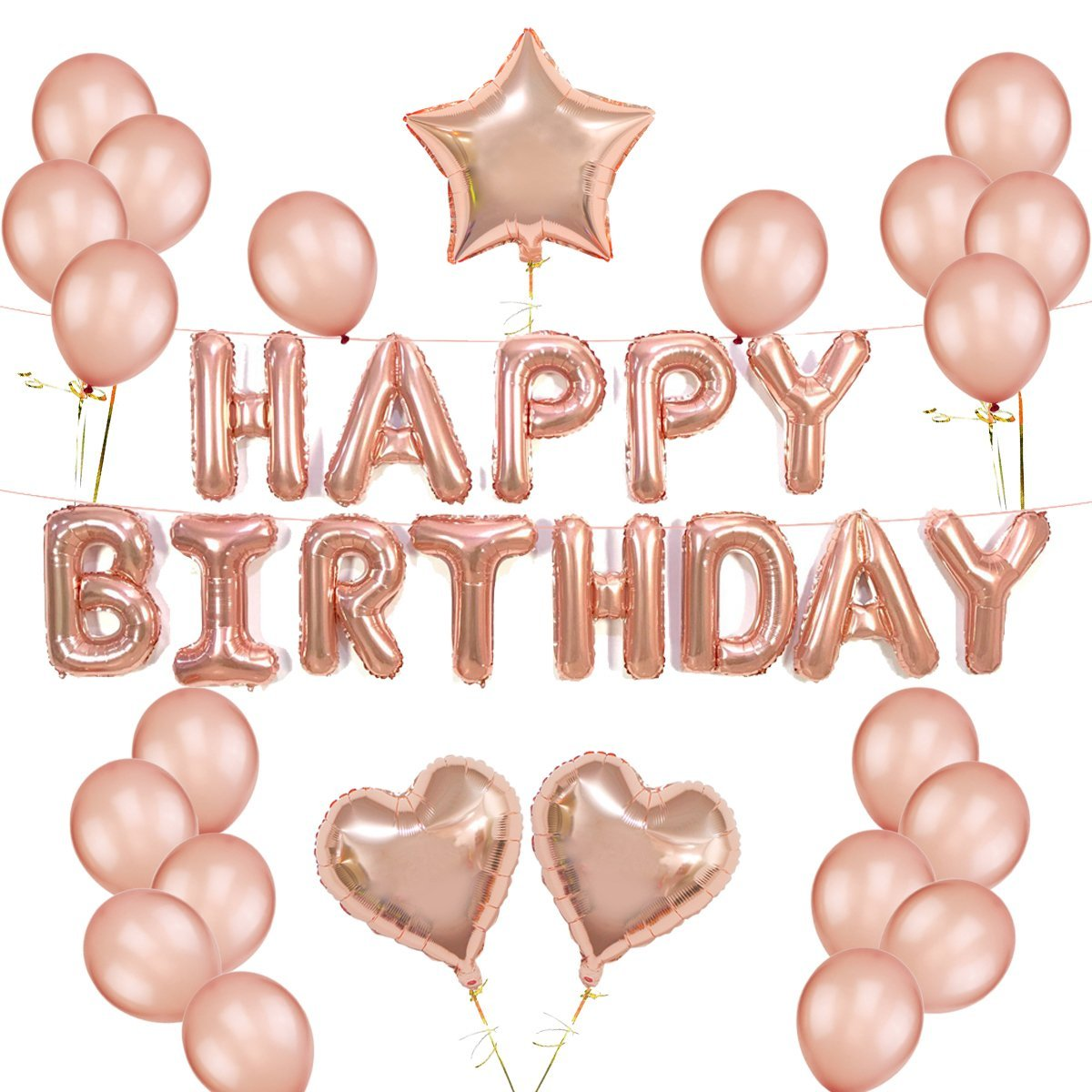 6cfb1d9a3080 Get Quotations · Rose Gold Balloons Decorations Set Happy Birthday Banner  12