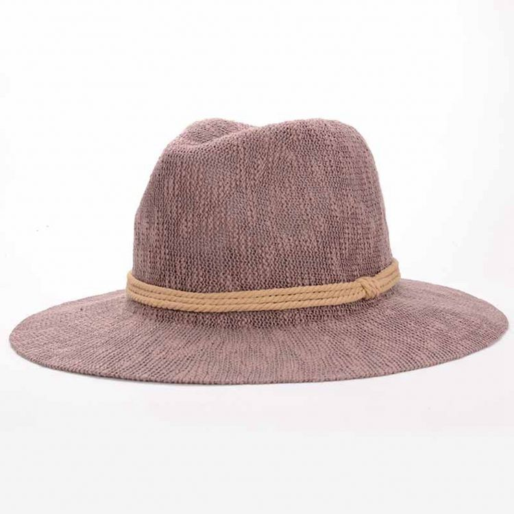 Fashion Beige Paper String Straw Hat with Wine Red Ribbon