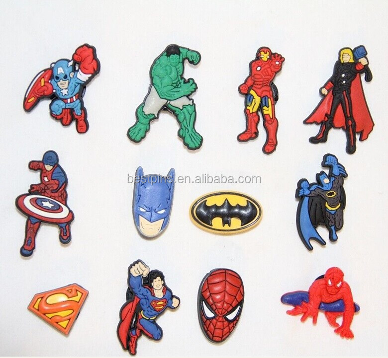 Customize 3d Rubber Charms US Superhero PVC Magnet For Phone Decoration