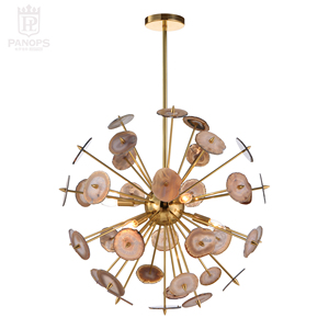 Antique christmas light agate 6 arms unique design solid brass and round natural agate chandelier indoor lighting