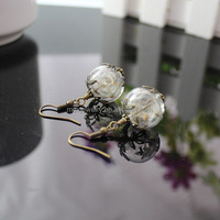 Retro Bronze Silver Two Tone Nature Real Dandelion Handmade Dangle Earrings Specimen Seeds Beads Woodland Charm Earrings Jewelry