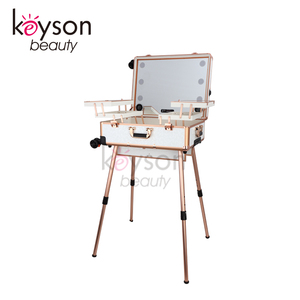Keyson 2018 Newest Design Lighted Rolling Travel Portable Beauty Case with Mirror and Bluetooth, White Flower