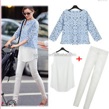 fashion spring and summer women's cutout lace top spaghetti strap elastic skinny pants Blouses & Shirtsthree pieces set