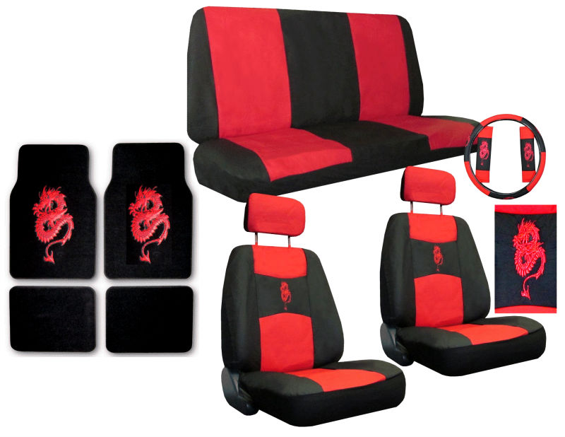Dragon Red Black Synthetic Leather Car Truck Suv Seat Covers