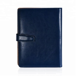 Dark Blue A5 Business Card Holder PU Leather Portfolio Binder