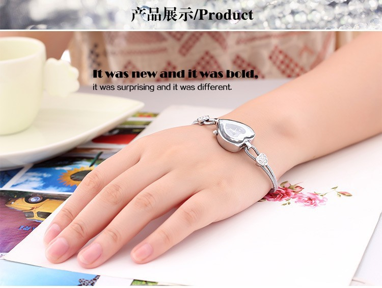 Роскошь марка в форме сердца циферблат серебро сталь часы женщины свободного покроя часы леди браслет часы кварцевый наручные часы Relogio