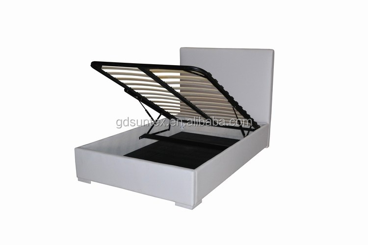 Hydraulic Lift Storage Queen Bed Set : Modern white pu leather double bed hydraulic lift up