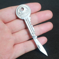 Key Shaped Folding Pocket Knife Keychain Car Key Rings