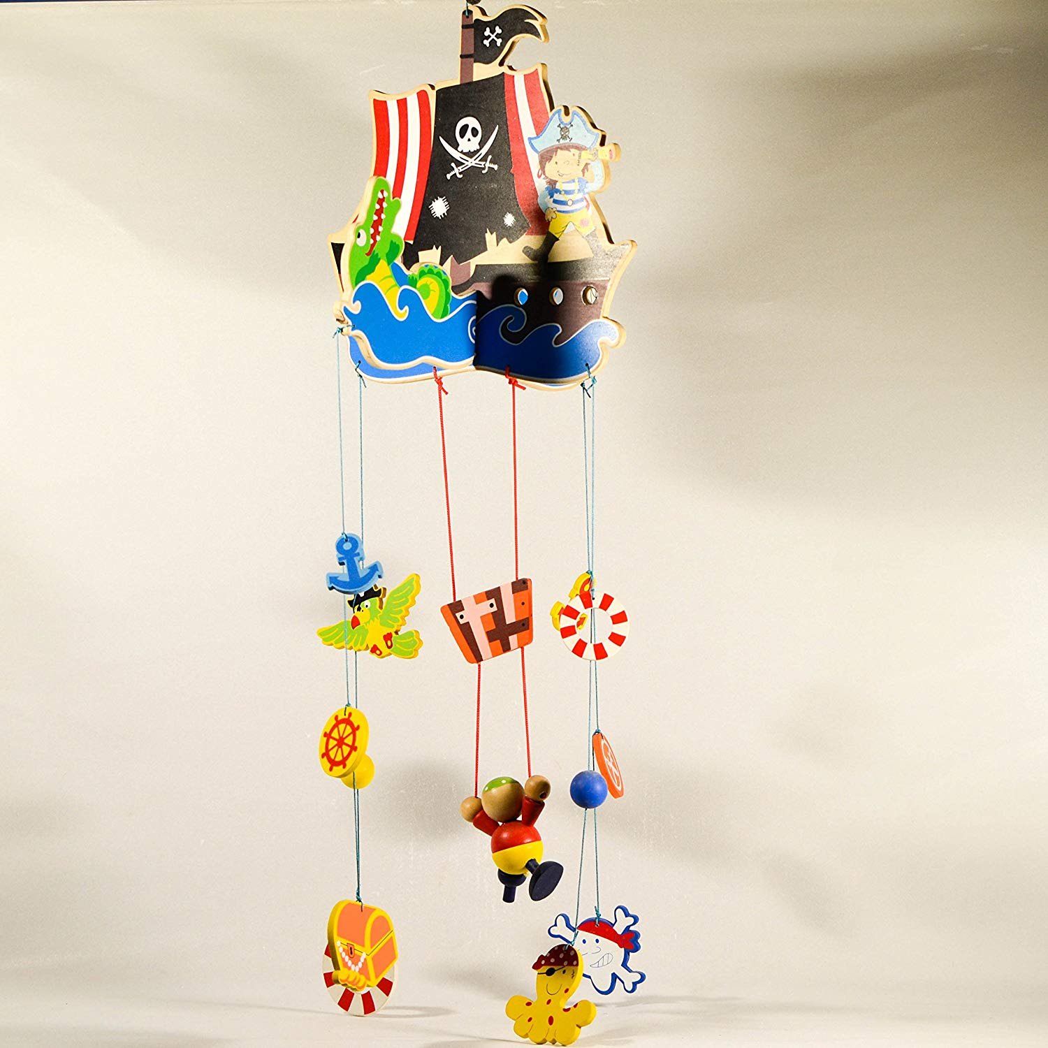 Pirate Ship Wooden Hanging Mobile - Nursery Decor - Hung Mobile Ornament - Baby Room Decor