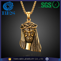 Latest Design Saudi Gold Jewelry Necklace Jesus Pendant 18k Gold Chain Necklace Stainless Steel Mens Necklace