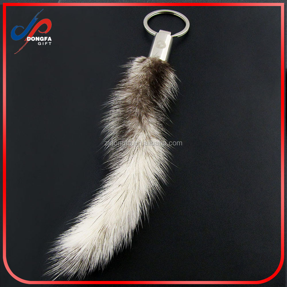 18 K Gold Plated Keychain with Plush Cute Genuine Rabbit Fur Key Chain for Car Key Ring