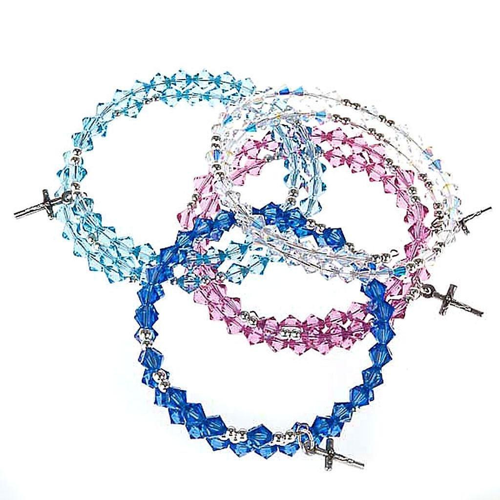 Silver rosary bracelet with Swarovski, Pink
