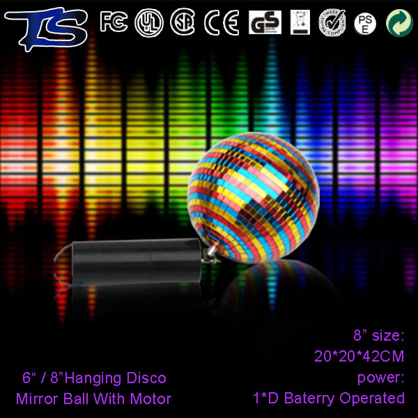 Rotating disco lights pvc hanging mirror ball with led motor for party