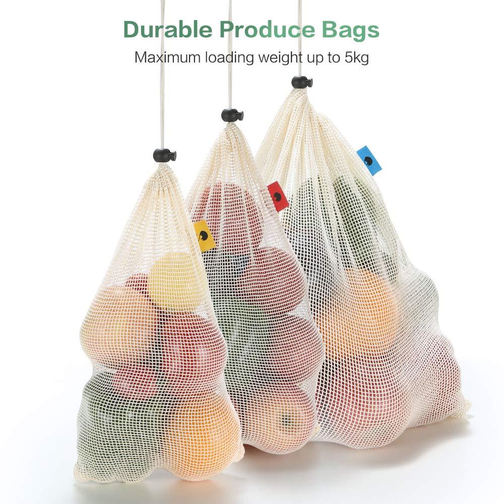 Bolsas de productos de malla reutilizables de algod/ón org/ánico con cord/ón