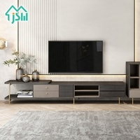 Luxury modern city style tv wall tv cabinet furniture black TV table with storage drawers