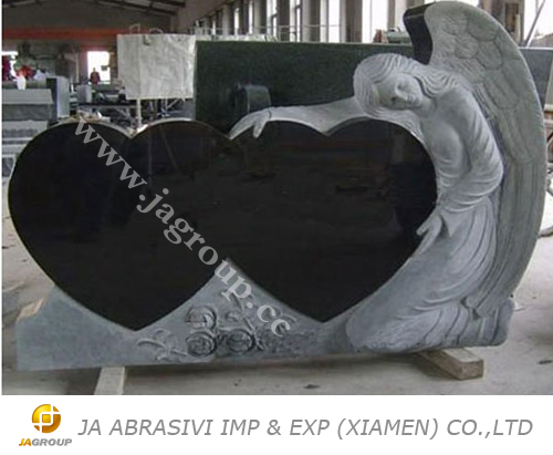 Black angel double hearts granite monuments