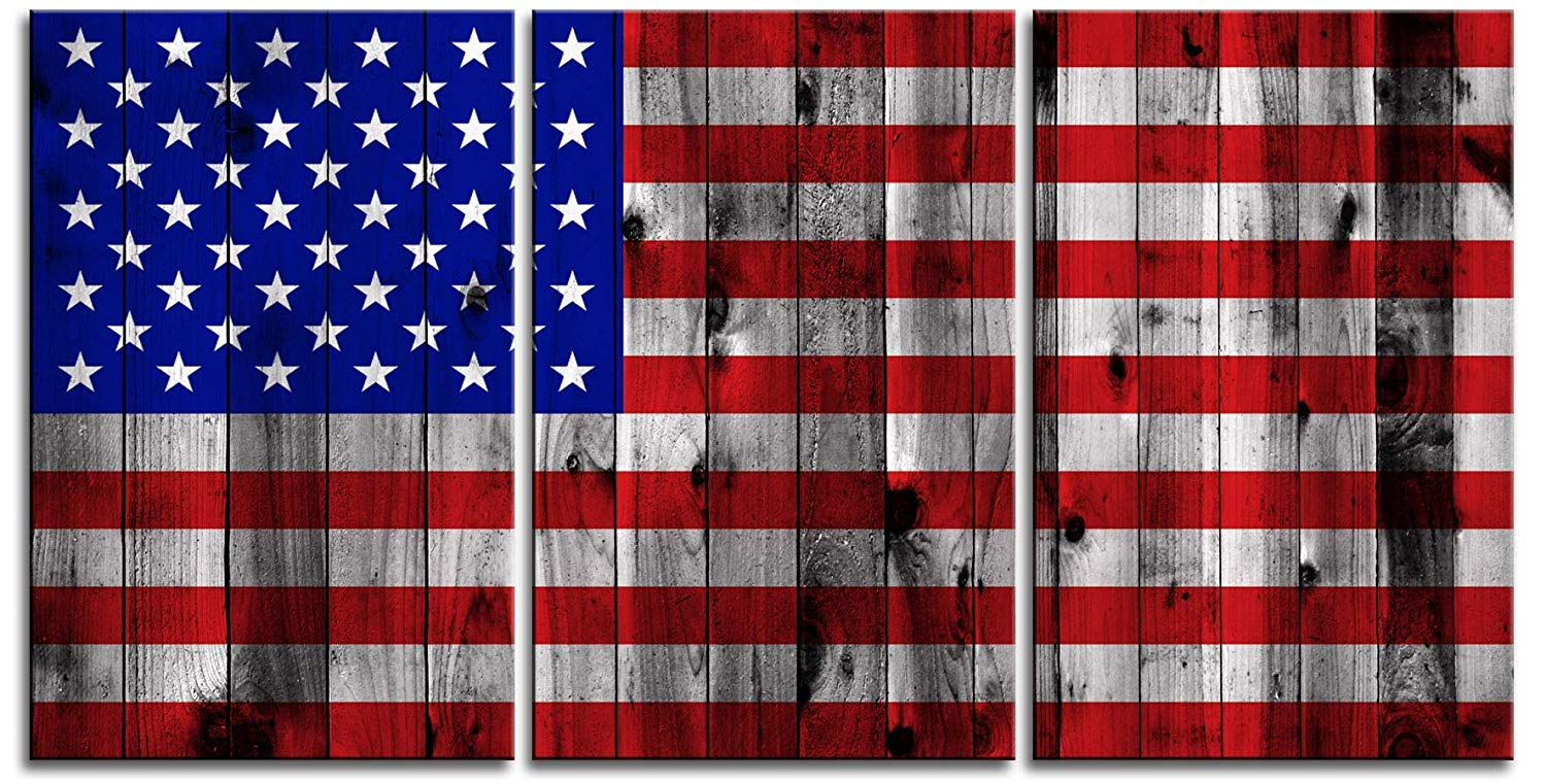 "Original by BoxColors Large 30""x 60"" 3 Panels 30x20 Ea Art Canvas Print American Flag Glory USA image texture wood Wall Decor Office Interior Home (Included Framed 1.5"" Depth)"